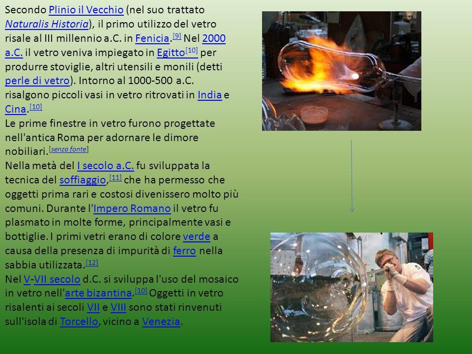 Secondo Plinio il Vecchio (nel suo trattato Naturalis Historia), il primo utilizzo del vetro risale al III millennio a.C. in Fenicia.[9] Nel 2000 a.C. il vetro veniva impiegato in Egitto[10] per produrre stoviglie, altri utensili e monili (detti perle di vetro). Intorno al 1000-500 a.C. risalgono piccoli vasi in vetro ritrovati in India e Cina.[10]